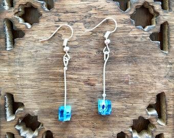 Handmade Earrings Millefiori Murano Glass Blue