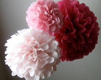 Tissue Paper Pom Poms - set of 3- Your Color Choice- SALE