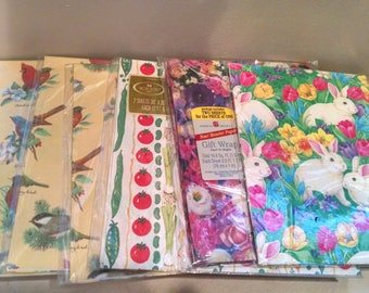 Lot of vintage variety gift wrap, Spring theme. Free ship