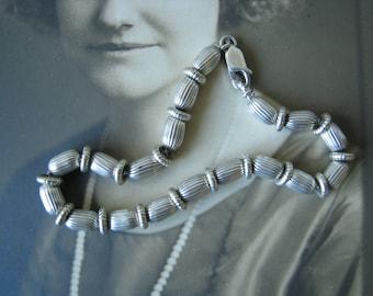 Vintage Sterling Silver Beaded Box Chain Bracelet