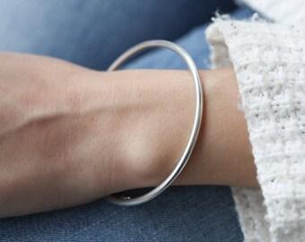 Sterling silver bangle bracelet - 925 solid sterling silver - round bangle bracelet - thick sterling silver bangle -