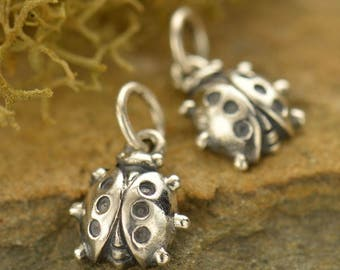 Sterling Silver, Ladybug Charm, Silver Ladybug, Good Luck Charm, Good Luck Jewelry, Ladybug Jewelry, Insect Charm, Insect Jewelry