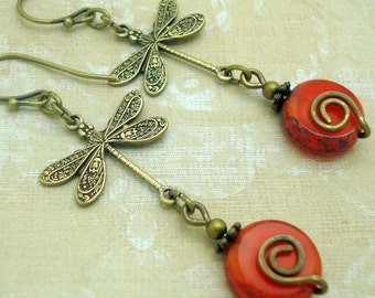 Boho Orange Dragonfly Earrings with Czech Glass Coin Bead and Handmade Brass Spiral
