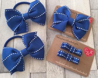 Electric blue saddlestitch school bow set