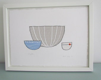 Bowl study - Original, Screenprint and monoprint in greys with blue and orange