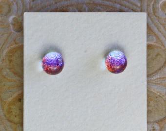 Dichroic Glass Earrings , Petite, Lavender Red  DGE-1403