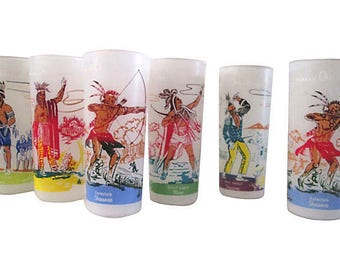 Famous Ohio Indian Frosted Tumblers, S/6