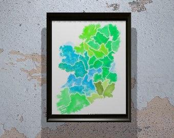 Ireland Print - Ireland Print - Ireland Wall Art - Ireland Watercolor - Gift - Home Decor - ireland Art - Gift