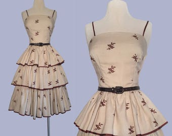 Pristine 1950's Embroidered Tiered Dress/ Party Dress / Rockabilly / Bombshell VLV