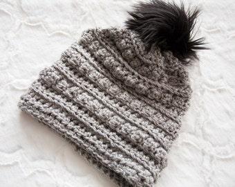 Black and white hat, Womens Pom hat, Faux Fur Pom Hat, Womens bobble hat, Winter Hat, Toboggan hat, Handmade Hat, Crochet hat, Womens winter