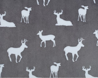 Personalized Minky Baby Blanket - Premier Deer To Me - Baby Girl or Baby Boy  - You Choose Solid Minky Color - Double Minky - Deer Blanket
