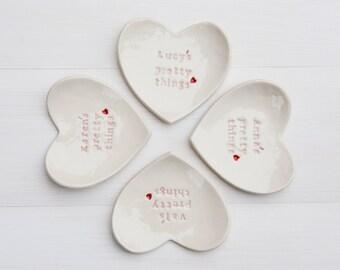 Personalized Bridesmaid Gift Ring Dish custom porcelain heart wedding ring bearer bowl