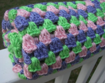 Baby Blanket - Granny Square Crochet - Spring Easter Colors - Pink, Purple, Green Blanket - Soft Yarn - Baby Shower Gift - Mulitcolor