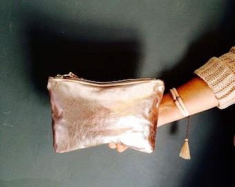 ROSELLA light pink clutch. Metallic leather clutch. Leather clutch bag.