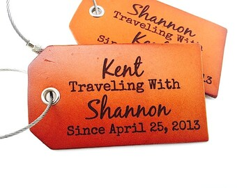 Leather Luggage Tags Anniversary Wedding Gift, Boyfriend Gift, Couples Gift, 3rd Anniversary Gift, Travel Quote Luggage Tag, Personalized