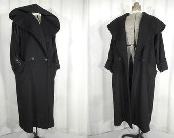 Vintage 1950s Coat / Plus Size Cashmere Swing Coat / Large Black Shawl Collar Coat with a Hood