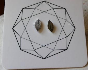 Silver Skeleton Leaf Studs