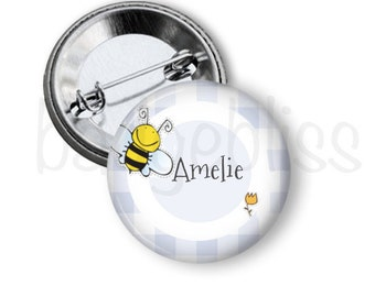 Bee pinback button badge or fridge magnet