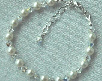 Sterling Silver Freshwater Pearl and Swarovski Crystal Children Bracelet, Flower Girls Bracelet