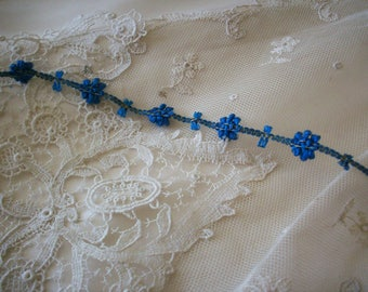 rare antique authentic ribbon work silk and metal Garland