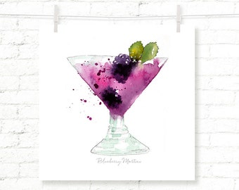 Blueberry - Martini - Cocktail - Drink - Watercolor - Art Print - Wall Art