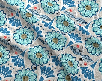 Retro Blooming Blue Fabric - Blooming Blue Flowers By Ottomanbrim - Retro Abstract Floral Cotton Fabric By The Yard With Spoonflower