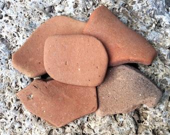 5 pcs large sea bricks Sea pottery Terracotta Pottery pieces Beach pottery scraps Broken pottery Beach Sea mosaic Natural sea Shore finds