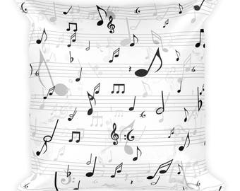 music home decor, music pillow, music note pillow, musical pillow, music throw pillow, music room decor, music bedroom decor, music bedding