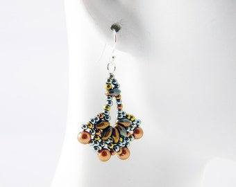 "READY TO SHIP Sage and Bronze Superduo Beadweaving Earrings ""Little Frills"""