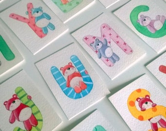 original watercolor ACEO- initial mane alphabet letter with teddy bear