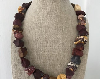 Chunky Mookaite, Wood and Fine/Sterling Silver Necklace - Free U.S. Shipping