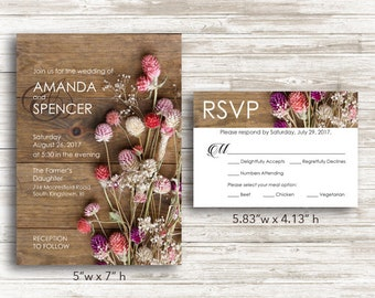 Paper Rustic Floral Wedding Invitations and RSVP Cards with Envelopes