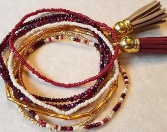 Seed bead bracelet, beaded bracelet, stretch bracelet, beaded jewelry, bracelet set of 8, stretch bracelet set, red bracelet, boho set