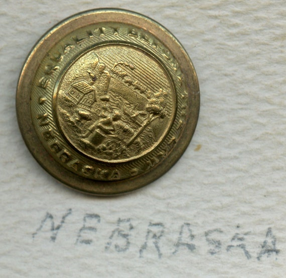 FREE SHIPPING-Antique-Nebraska-State Seal-Uniform Button B/M M.C. Lilley Columbus OH.-Equality Before The Law