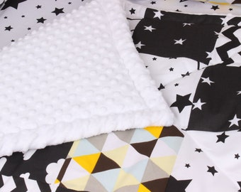 Scandinavian Stars Baby Blanket Baby gift Patchwork Baby Quilt Baby Boy Baby Girl Personalized Baby Blanket Baby Milestone Blanket Newborn