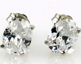 Cubic Zirconia (CZ), 925 Sterling Silver Post Earrings, SE002
