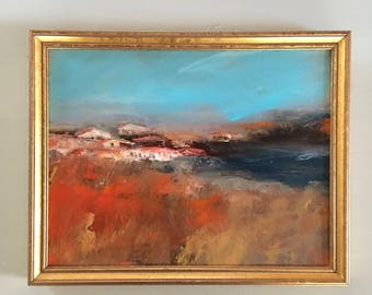 French County Painting- France Painting - Original Painting- 9 x 11 approx. inch - including Frame - Fine Art- European Landscape