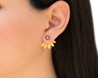 Pearl earring jackets, doubled side earrings, leaf ear cuff jacket earrings, pearl stud earrings, rose gold ear jackets, front back earrings