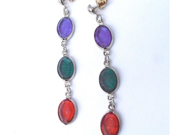 Vintage Multicolored Bezel Dangling Earrings Red Green Blue Acrylic Oval Light Gemstone Color Silver Tone Post Stud Jewelry Villacollezione