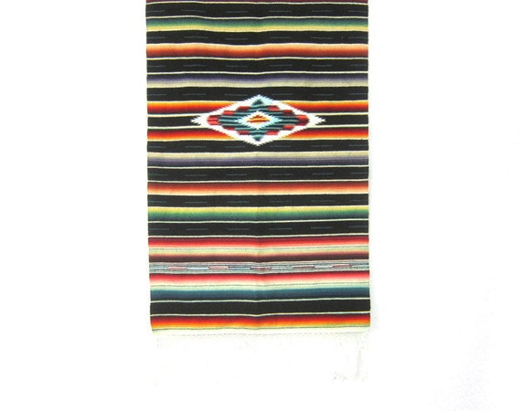 Antique WOOL Saltillo Serape Mexican Table Runner or Wall Hanging Vintage Southwestern tapestry Black Red colorful wool rug hanging