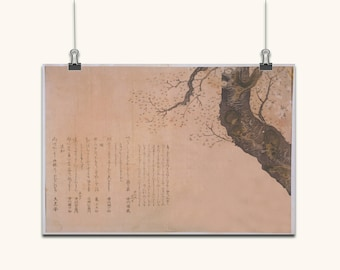 JAPANESE ART print ancient old  canvas poster wall art old style wall decor color various sizes Japanese Tree