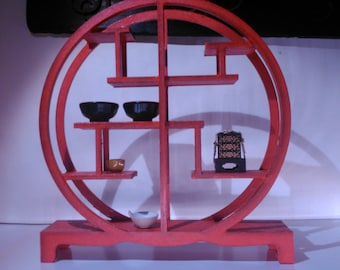 Oriental furniture, red chinese assymetric bookcase, 1/12 miniature for dollhouses