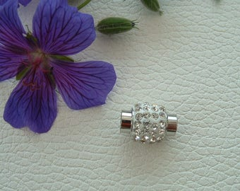 CLASP magnetic CLAPS with white rhinestones in silver Platinum 17x13mm