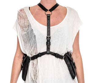 CLASSIC FETISH Black Leather Body Harness and Holster w/ Silver Hardware