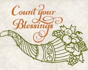 "SVG Digital Design ""Count Your Blessings"" Instant Download- Includes svg, png, jpeg, dxf, & eps formats."
