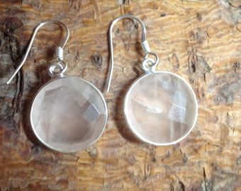 Sterling Silver and Rose Quartz Earrings