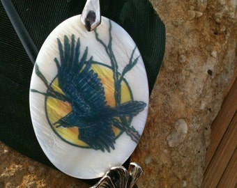 Raven Totem Animal Mother of Pearl Amulet by Mickie Mueller