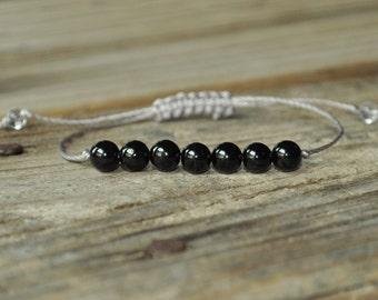 Black Tourmaline Yoga Bracelet, Base Chakra, Earth Star Chakra, Gemstone Therapy, Meditation Bracelet, Reiki, Negativity