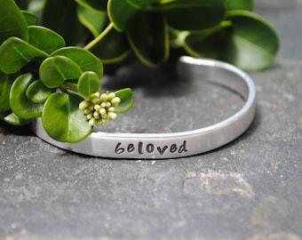 Beloved - Hand Stamped Cuff Bracelet - Christian Jewelry