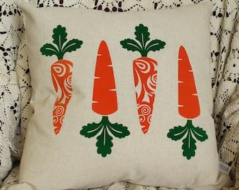 Easter Spring Pillow Cover, Farmhouse spring pillow, Spring Pillow, Bunny Carrots